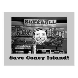 Save Coney Island! postcard (B&W)