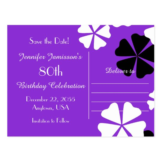 Save Date 80th Birthday Party Purple Announcement Postcard
