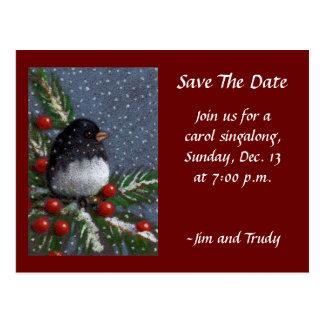SAVE DATE: CHRISTMAS: BIRD: ARTWORK POSTCARD