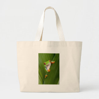 Save eyed tree frog tote bags