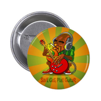save gas, play guitar 2 inch round button