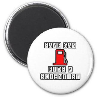 Save Gas...Ride A Scientist 2 Inch Round Magnet