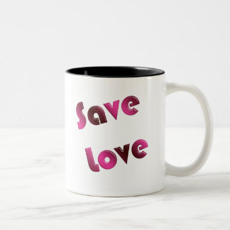 Save Love. gradient text. Two-Tone Coffee Mug