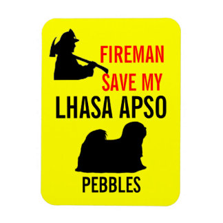 Save My Lhasa Apso Dog Fire Safety Rectangular Photo Magnet