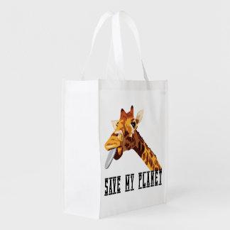 Save My Planet Giraffe Grocery Bags