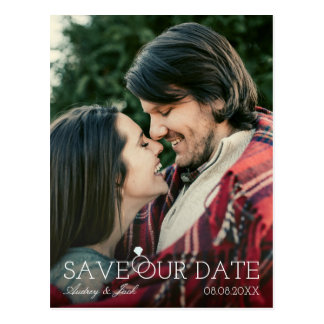 Save Our Date - Diamond Ring - Custom Photo Postcard