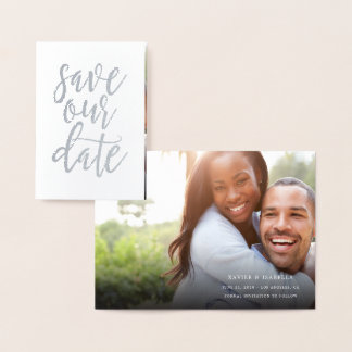 Save Our Date Real Foil Script Style 4 Foil Card