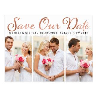 Save Our Date Wedding Rose Gold Foil Script Photos Postcard