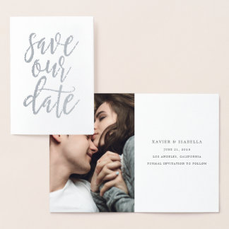 Save Our Date With Photo (Real Foil) Foil Card