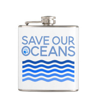 Save Our Oceans Blue Stylized Earth Waves Hip Flask