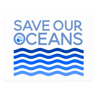 Save Our Oceans Blue Stylized Earth Waves Postcard