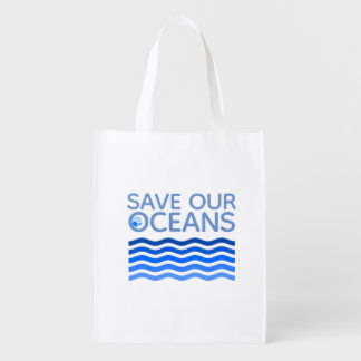 Save Our Oceans Blue Stylized Earth Waves Reusable Grocery Bag