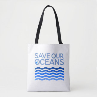 Save Our Oceans Blue Stylized Earth Waves Tote Bag