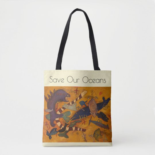 save our oceans, go green, fish, original art tote bag