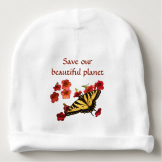 Save Our Planet Butterfly Flowers Baby Beanie