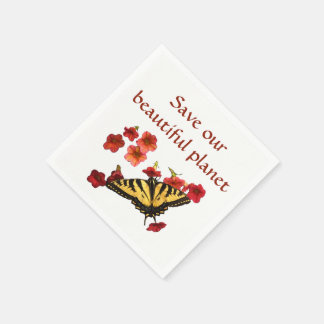 Save Our Planet Butterfly Flowers Paper Napkin