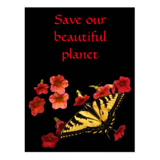 Save Our Planet Butterfly Flowers Postcard