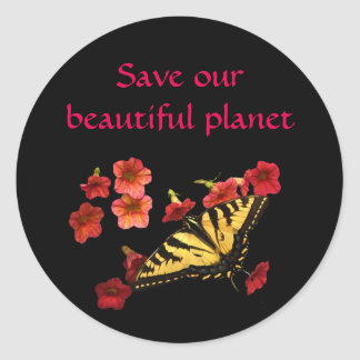 Save Our Planet Butterfly Flowers Stickers