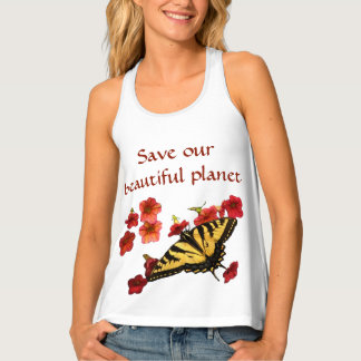 Save Our Planet Butterfly Flowers Tank Top