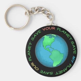 Save Our Planet Design Basic Round Button Keychain