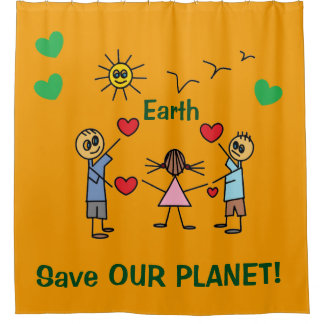 Save OUR planet Earth Colorful Stick Figure Kids
