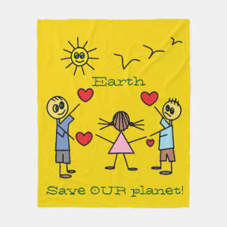 Save OUR planet Earth Colorful Stick Figure Kids Fleece Blanket