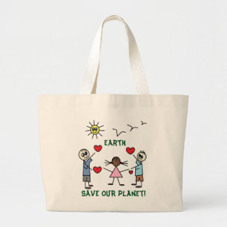Save OUR planet Earth Colorful Stick Figure Kids Large Tote Bag
