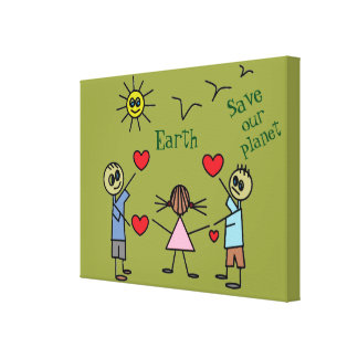 Save our planet Earth Cute Love Peace Message Canvas Print