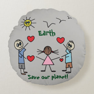 Save our planet Earth Cute Love Peace Message Round Pillow