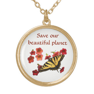 Save Our Planet Yellow Butterfly Flowers Necklace
