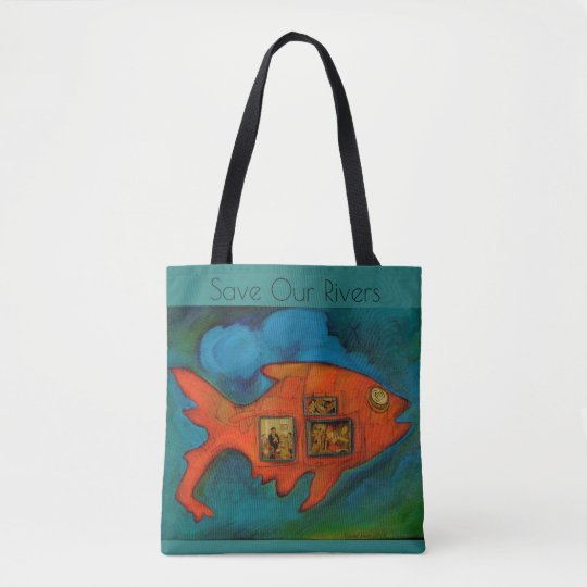save our rivers, go green, fish, original art tote bag