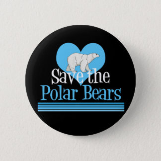 Save Polar Bears Cute Black Blue 2 Inch Round Button