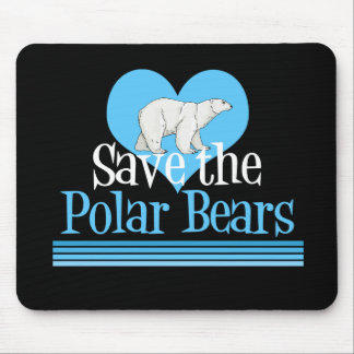 Save Polar Bears Cute Black Blue Mouse Pad