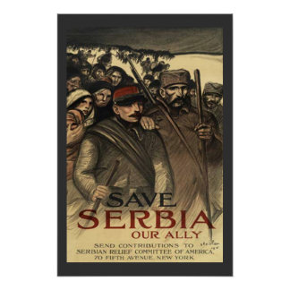 Save Serbia World War One Vintage Poster