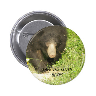 SAVE SLOTH BEARS 2 INCH ROUND BUTTON