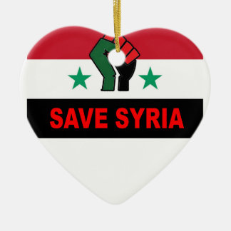 SAVE SYRIA.png Ceramic Heart Ornament