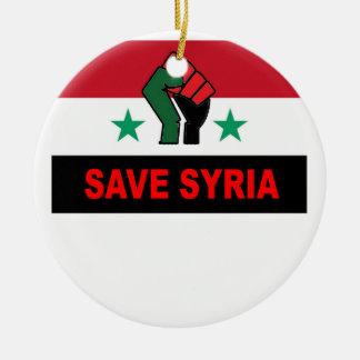 SAVE SYRIA.png Round Ceramic Ornament
