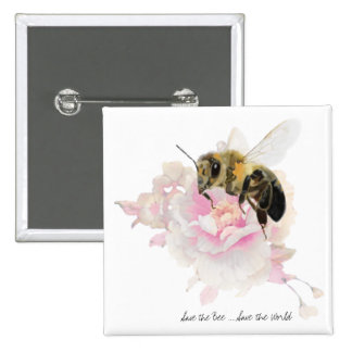 Save the Bee! Save the World! Pretty Bee 2 Inch Square Button