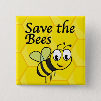 Save the Bees 2 Inch Square Button