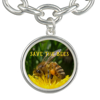 Save the Bees, Grow Dandelions Charm Bracelets