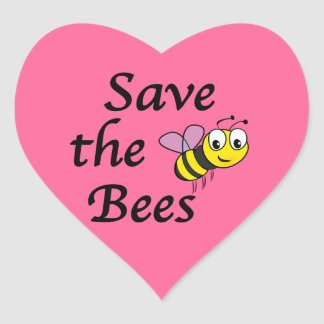 Save the Bees Heart Sticker