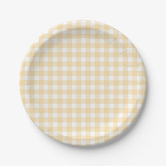 Save the Bees  Neutral Plaid Paper Plates