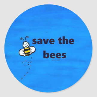 Save the bees round stickers
