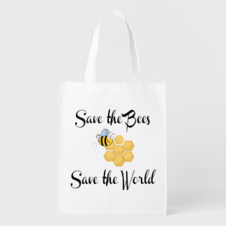 Save the Bees Save the World Reusable Grocery Bag