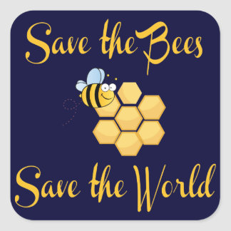 Save the Bees Save the World Square Sticker