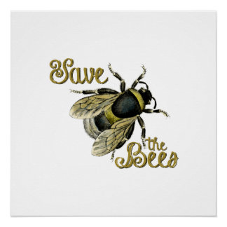 Save the Bees vintage illustration Poster