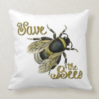 Save the Bees vintage illustration Throw Pillow