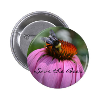 Save the Bees with Echinacea 2 Inch Round Button