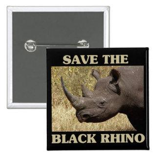 Save the Black Rhino 2 Inch Square Button