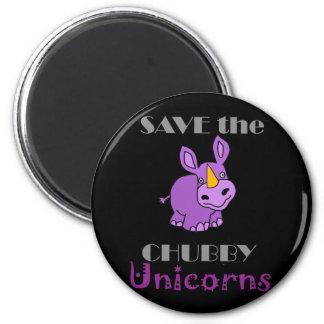 Save the Chubby Unicorns Fun Artwork 2 Inch Round Magnet